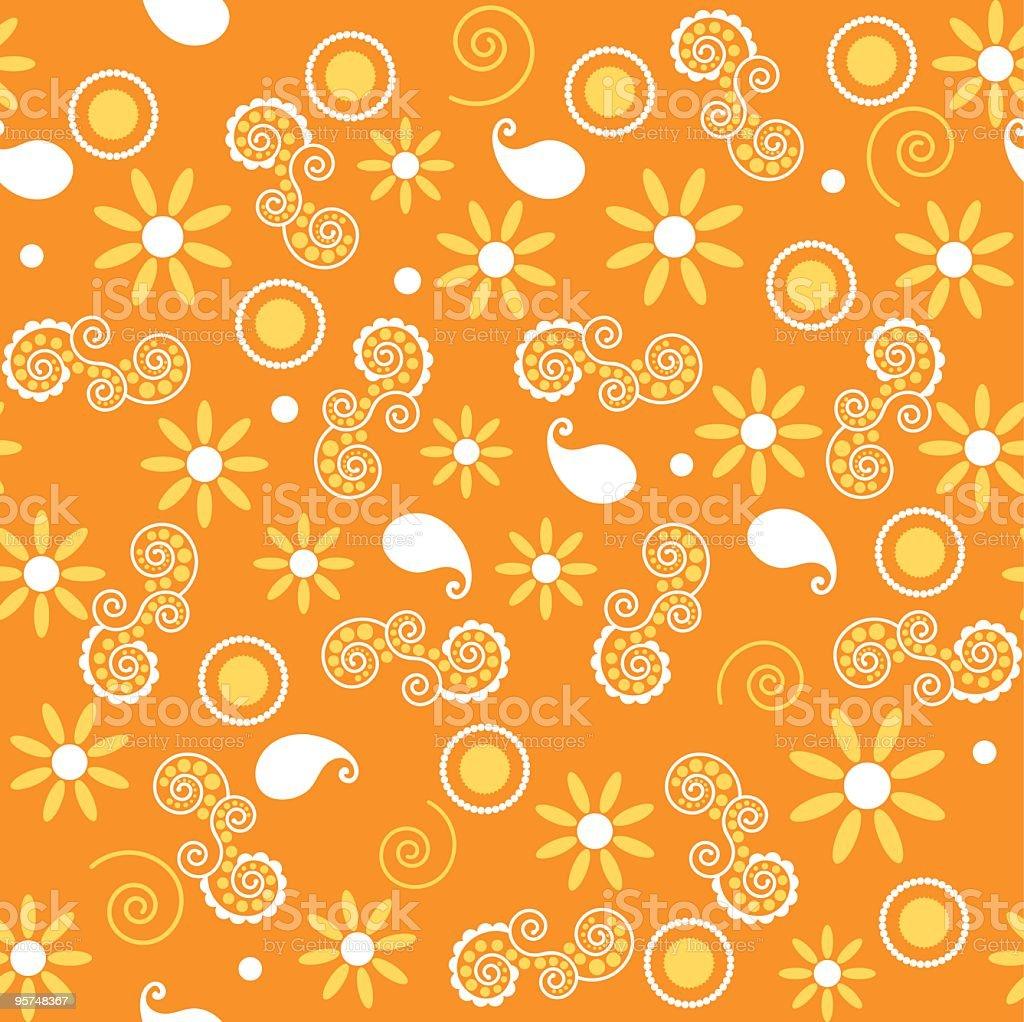 Sunny orange and yellow retro seamless tile royalty-free stock vector art
