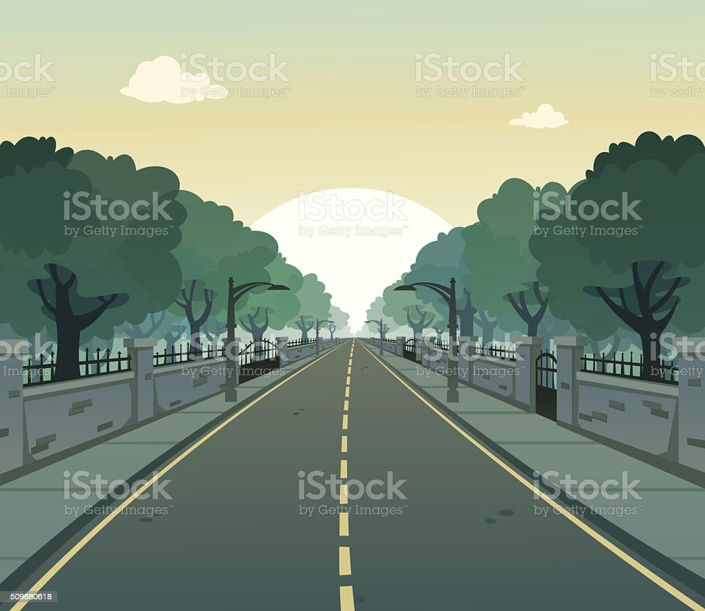Sunny Road vector art illustration