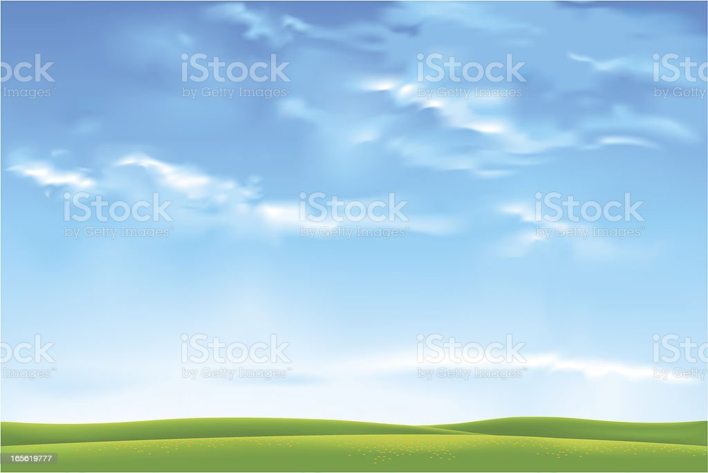 Sunny sky horizon: Vector vector art illustration