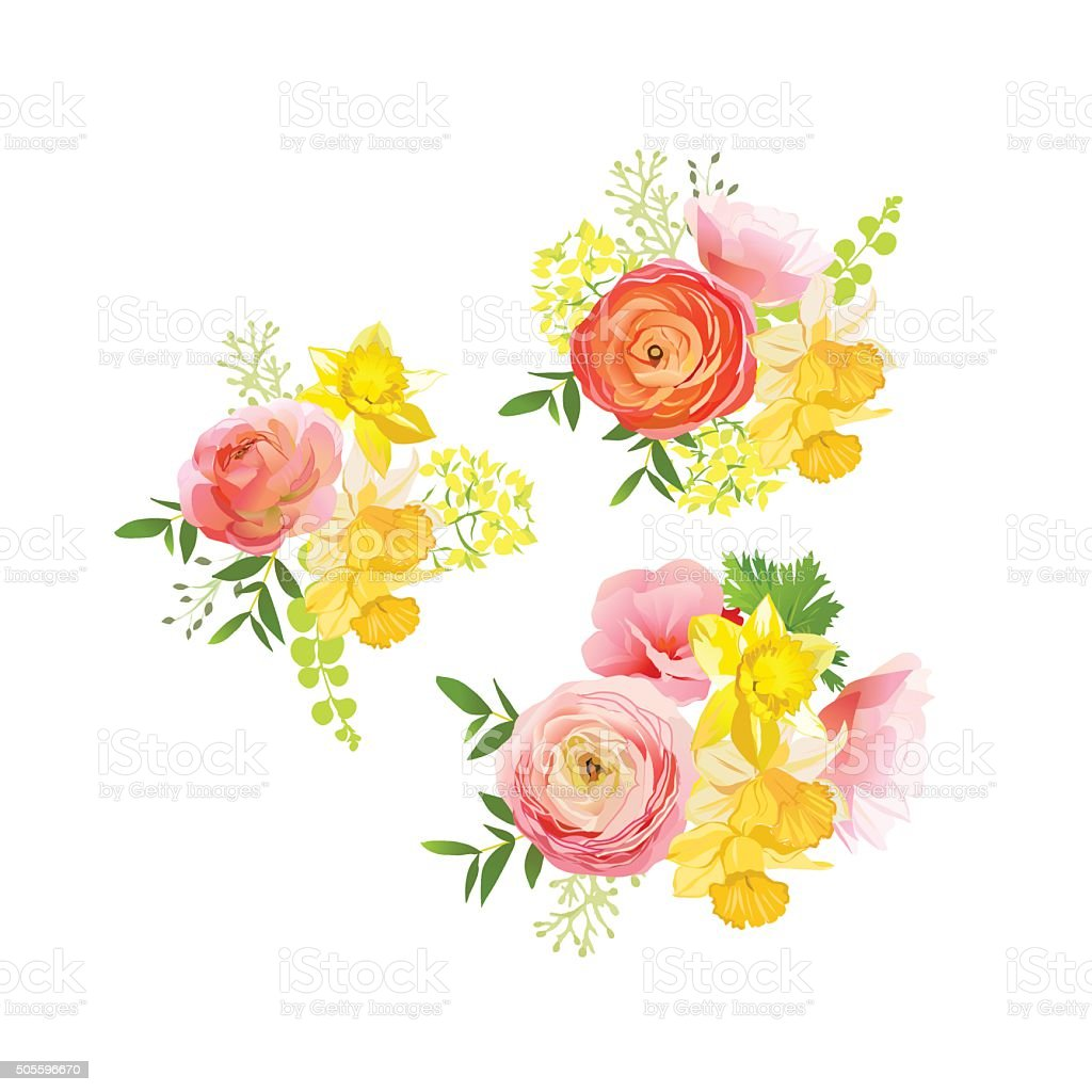 Sunny spring bouquets of rose, ranunculus, narcissus, peony vector art illustration