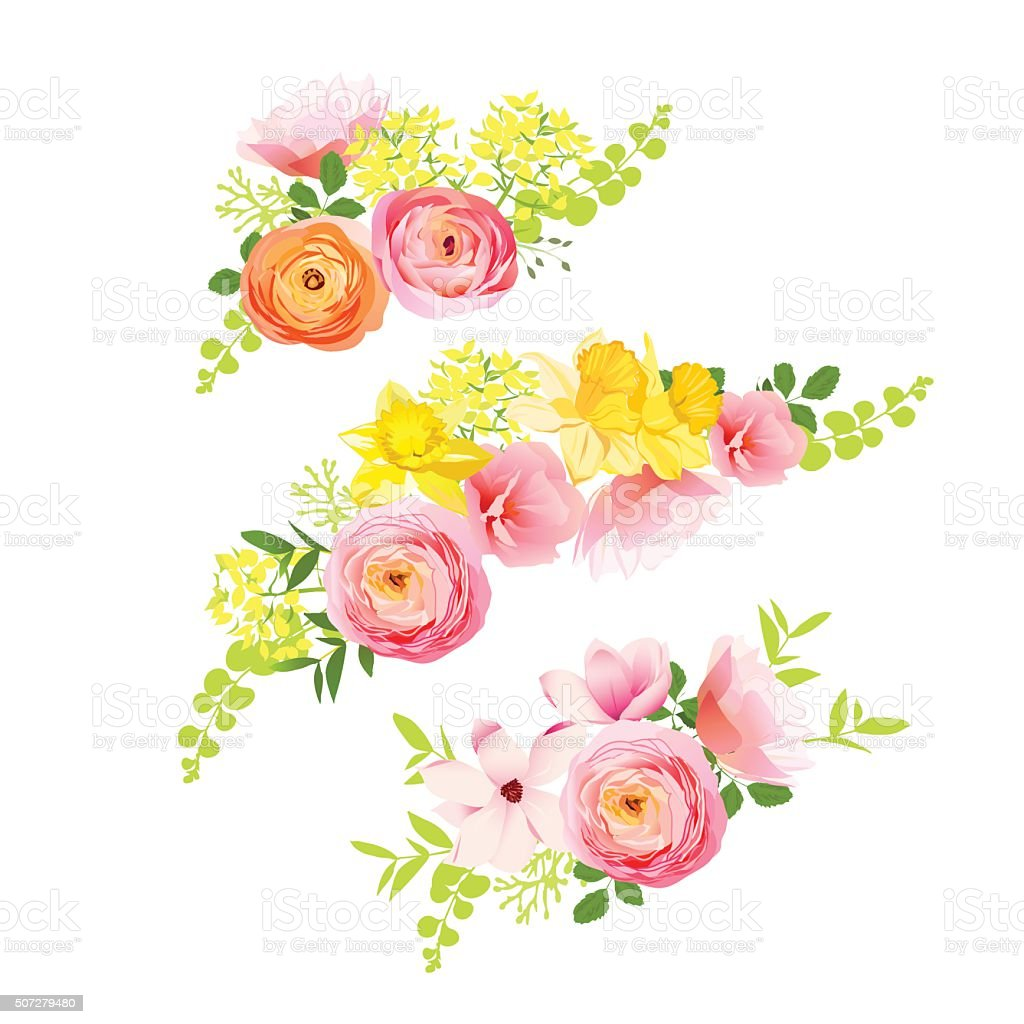 Sunny spring bouquets of rose, ranunculus, narcissus, peony. vector art illustration