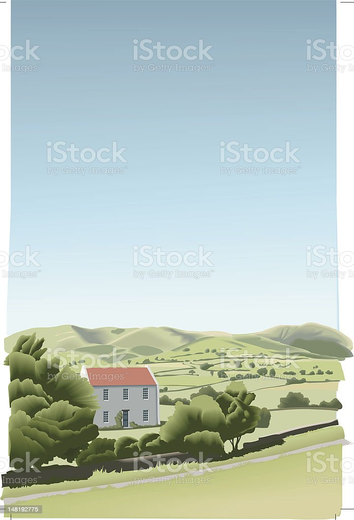 sunny summer landscape royalty-free stock vector art
