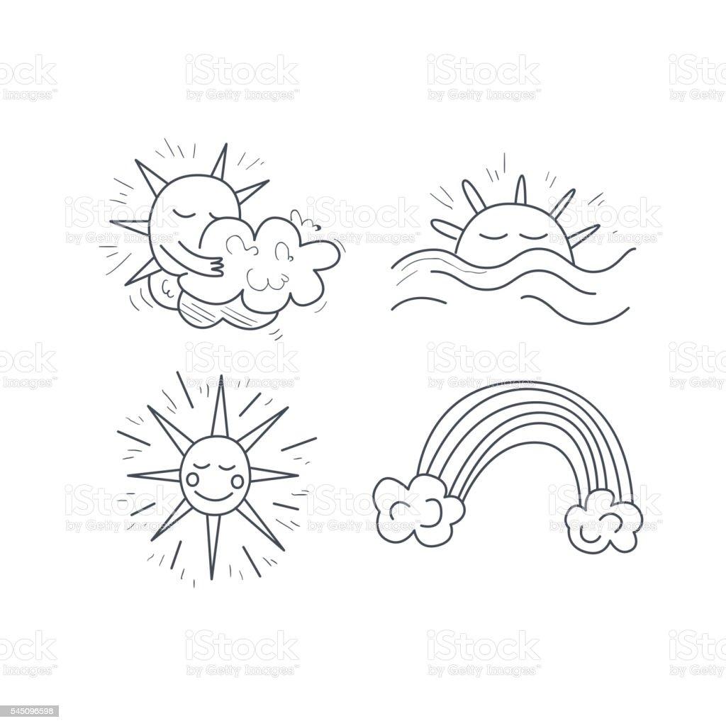 Sunny Weather Icons Set vector art illustration