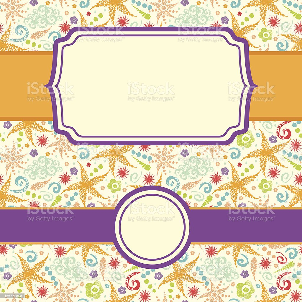 Sunny Weather Textured Seamless Pattern And Frames Set royalty-free stock vector art