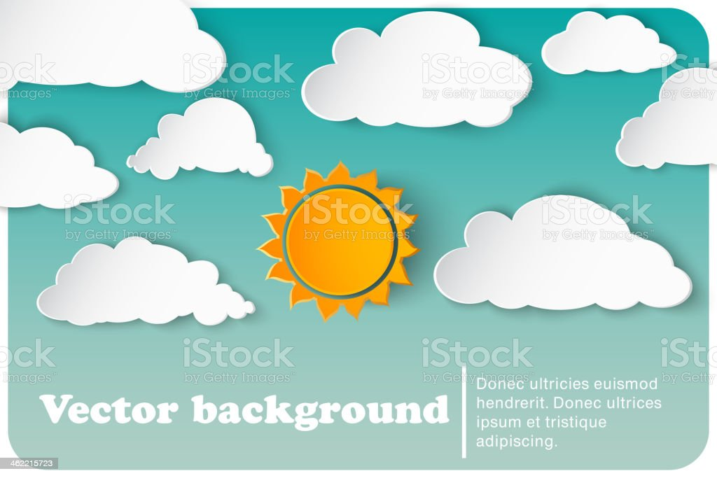sunny-cloudy background paper vector art illustration