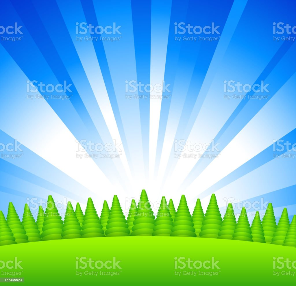 Sunrise above forest royalty-free stock vector art