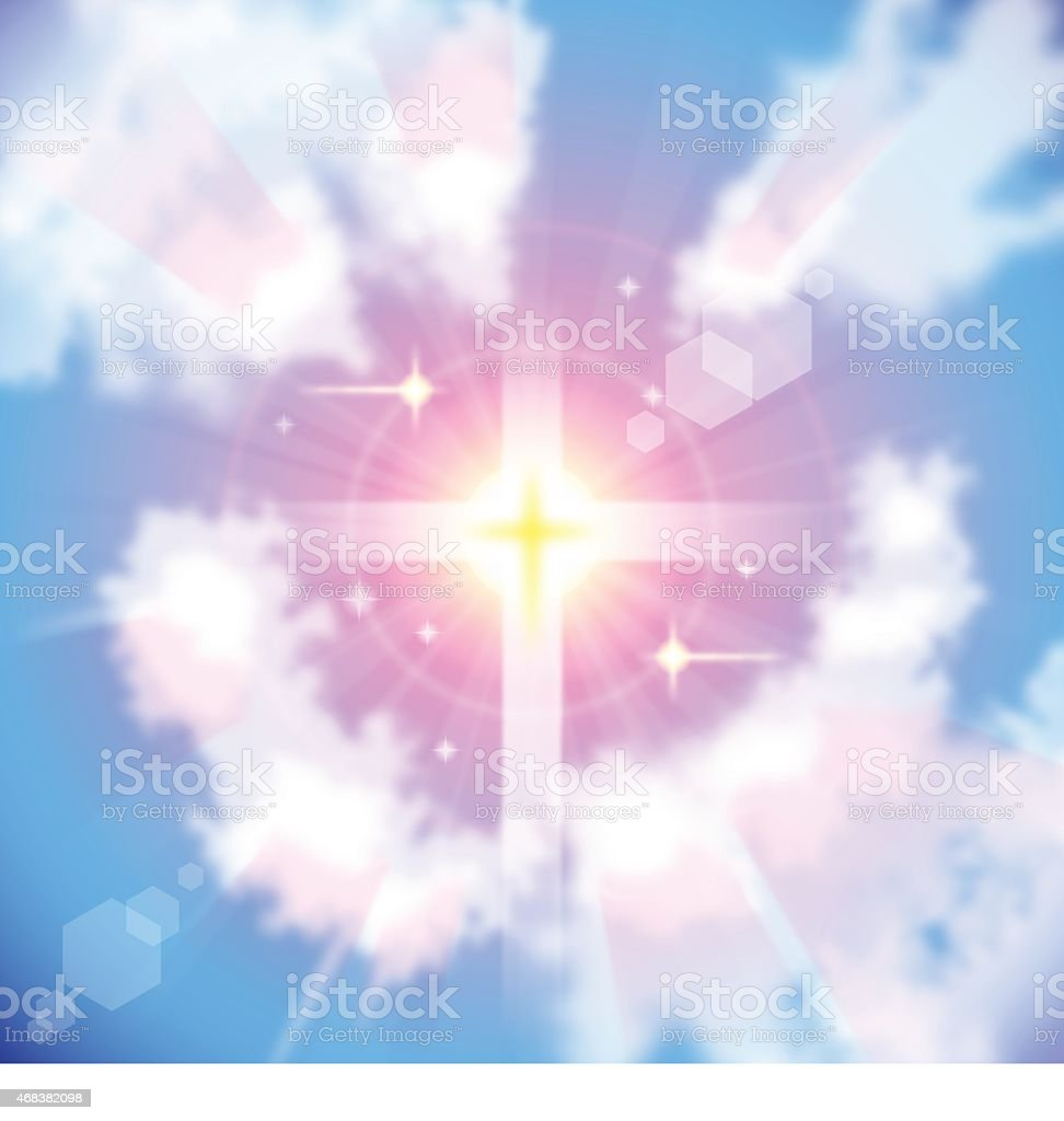 Sunrise and Sunlight cross vector art illustration