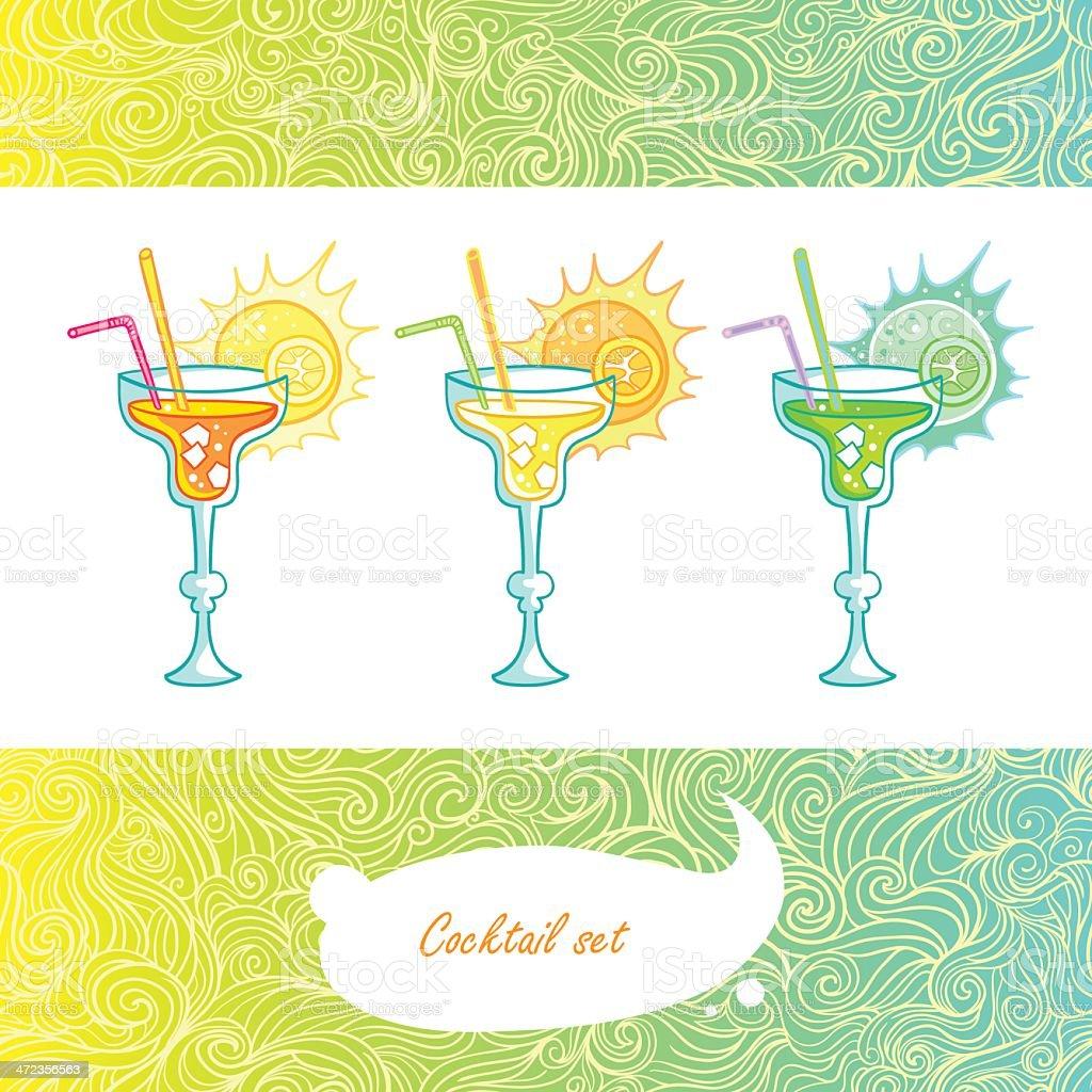 Sunrise beach cocktail royalty-free stock vector art