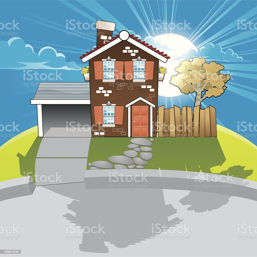 Sunrise behind house vector art illustration