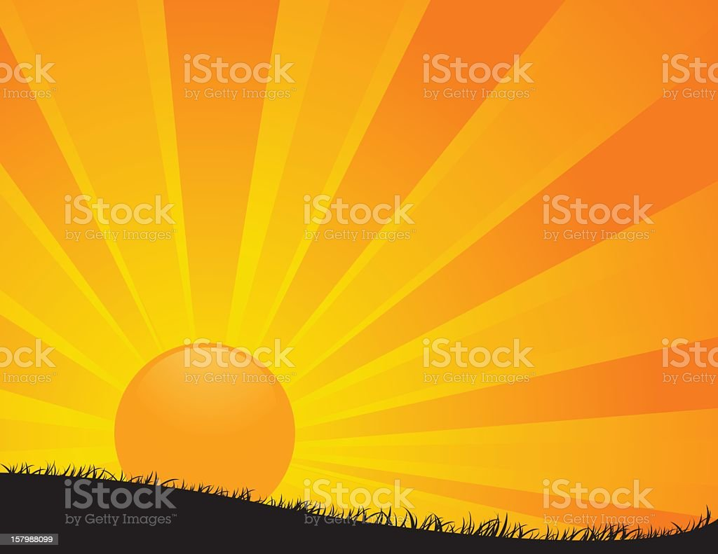 Sunrise cartoon in several yellow tones royalty-free stock vector art
