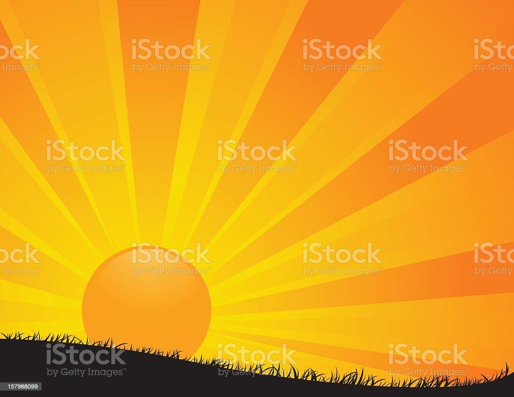 Sunrise cartoon in several yellow tones vector art illustration