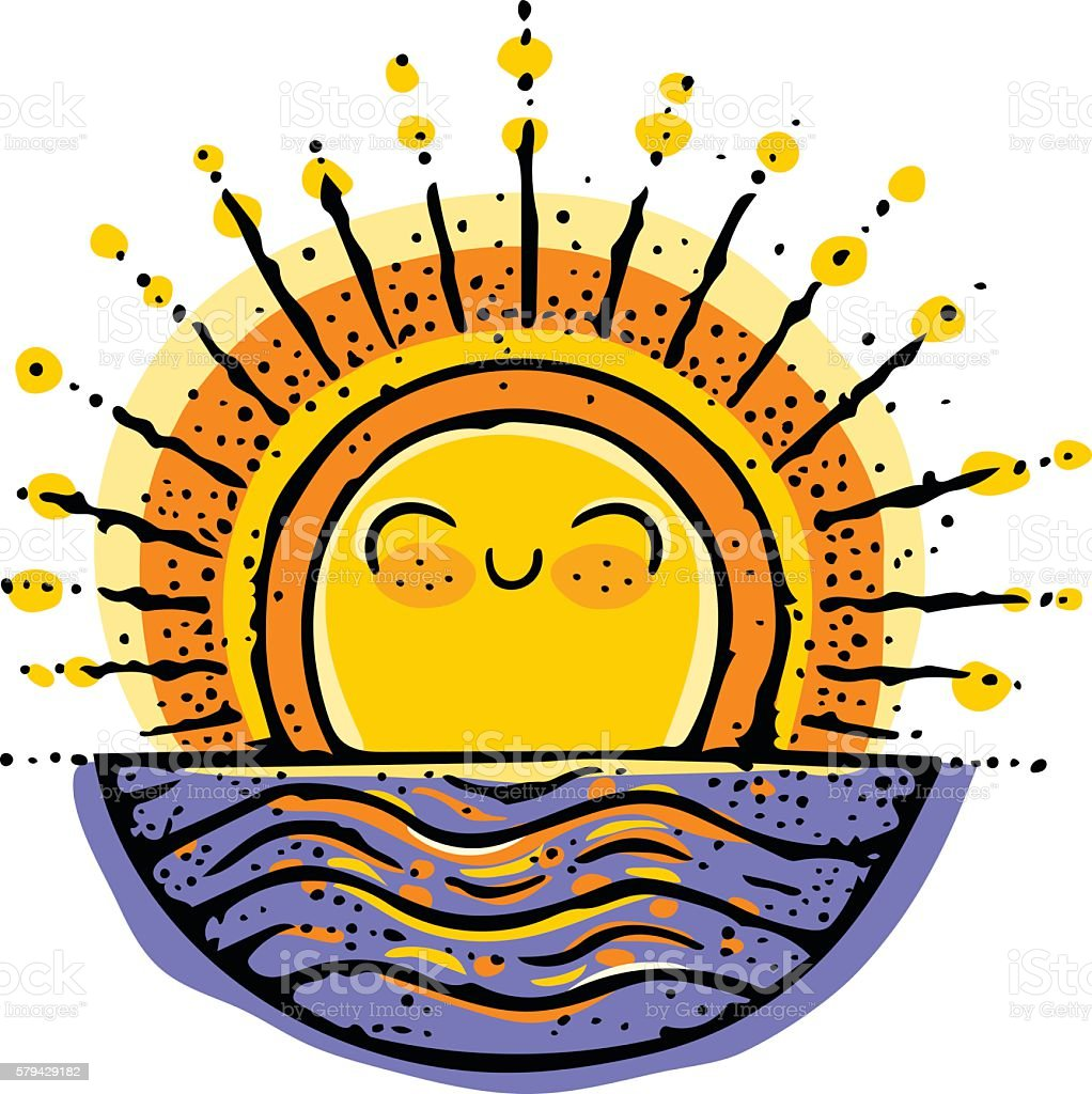 Sunrise Character Doodle vector art illustration