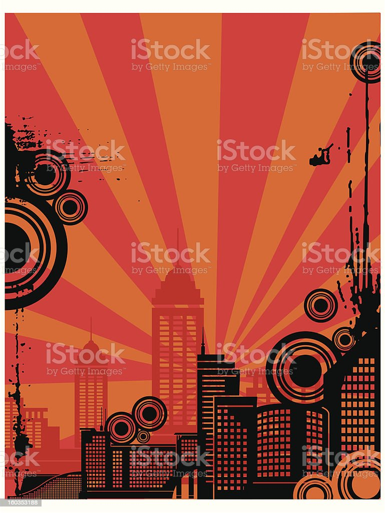 Sunrise City Silhouette Background Series royalty-free stock vector art