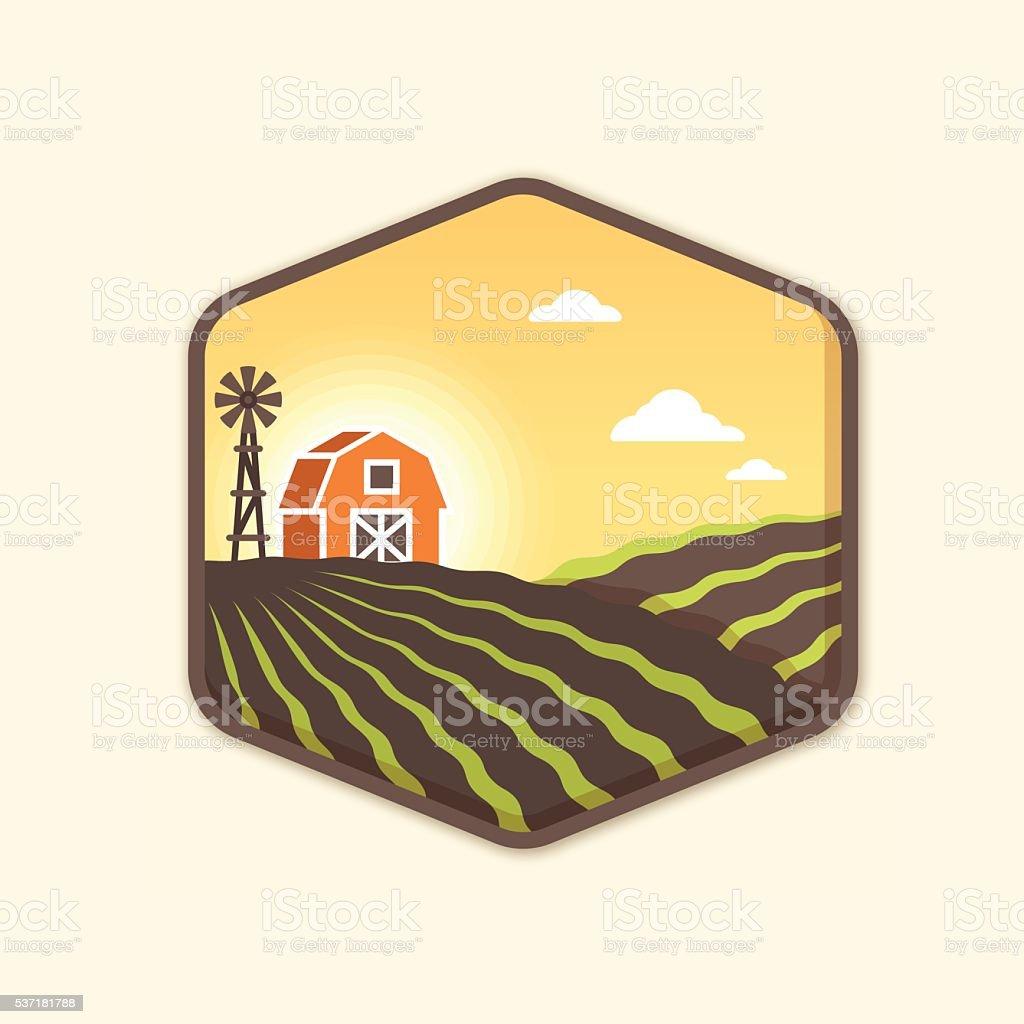 Sunrise Farm Badge vector art illustration