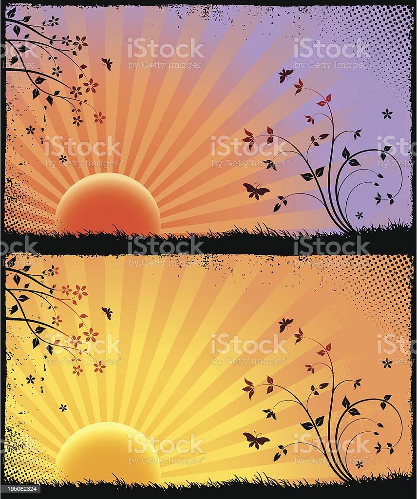 Sunrise grunge royalty-free stock vector art