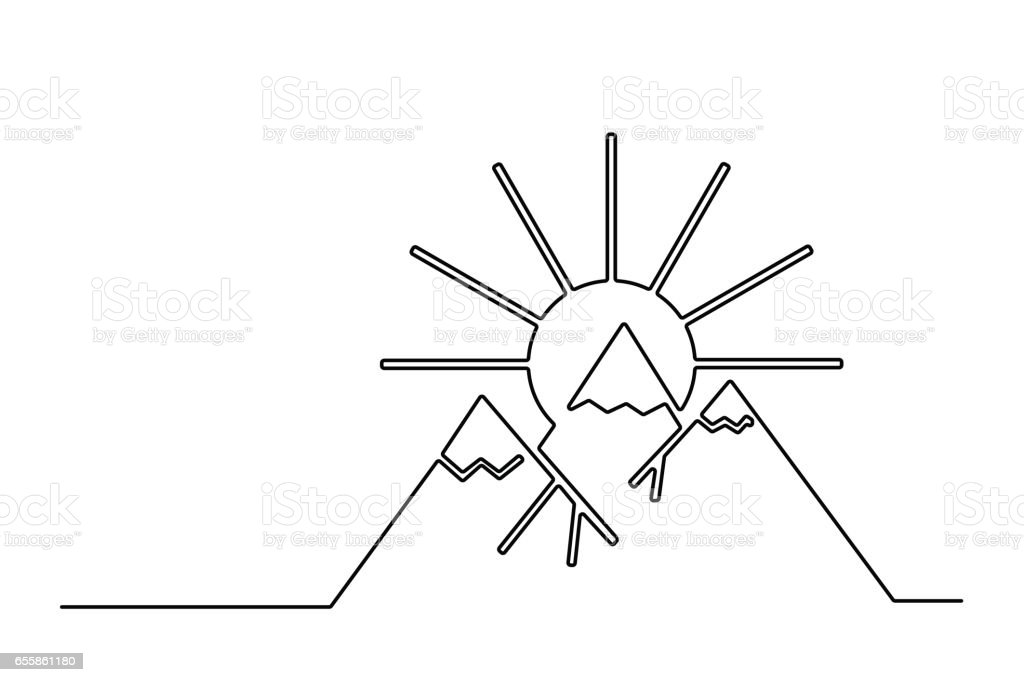 Sunrise in the mountains. vector art illustration