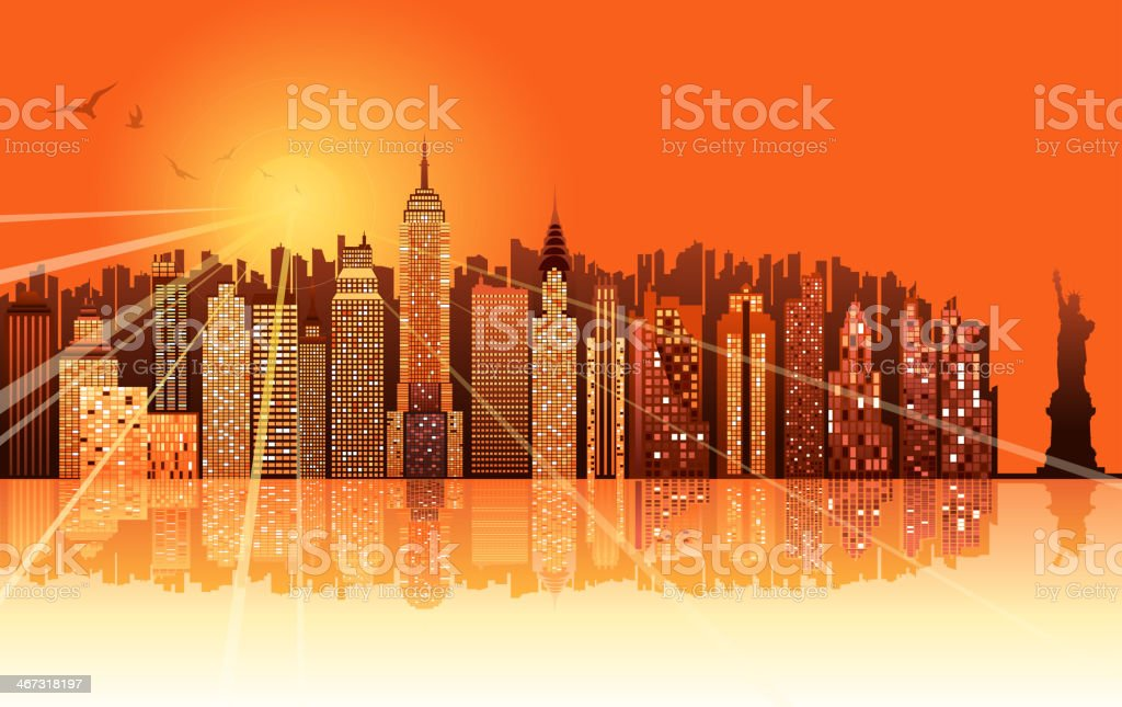 sunrise of new york city vector art illustration