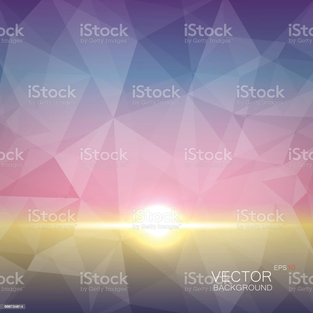 Sunrise on a polygonal vector in the colors of the dawn vector art illustration