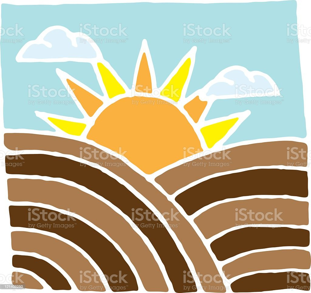 Sunrise over a ploughed field royalty-free stock vector art