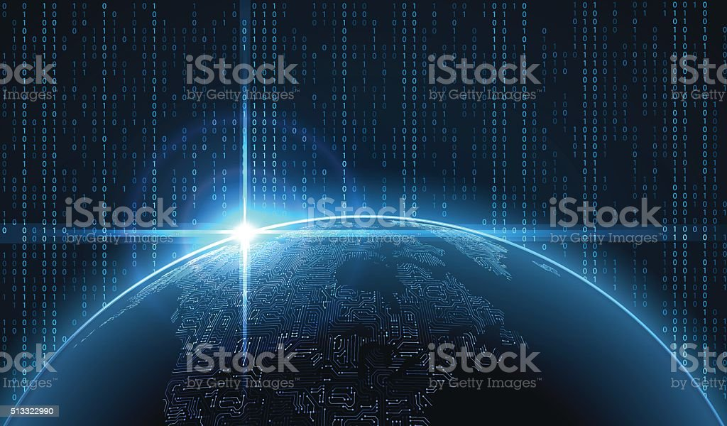 Sunrise over the Earth in cyberspace. vector art illustration