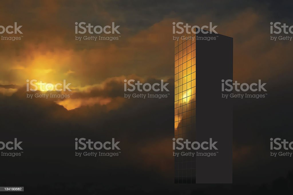 Sunrise skyscraper royalty-free stock vector art