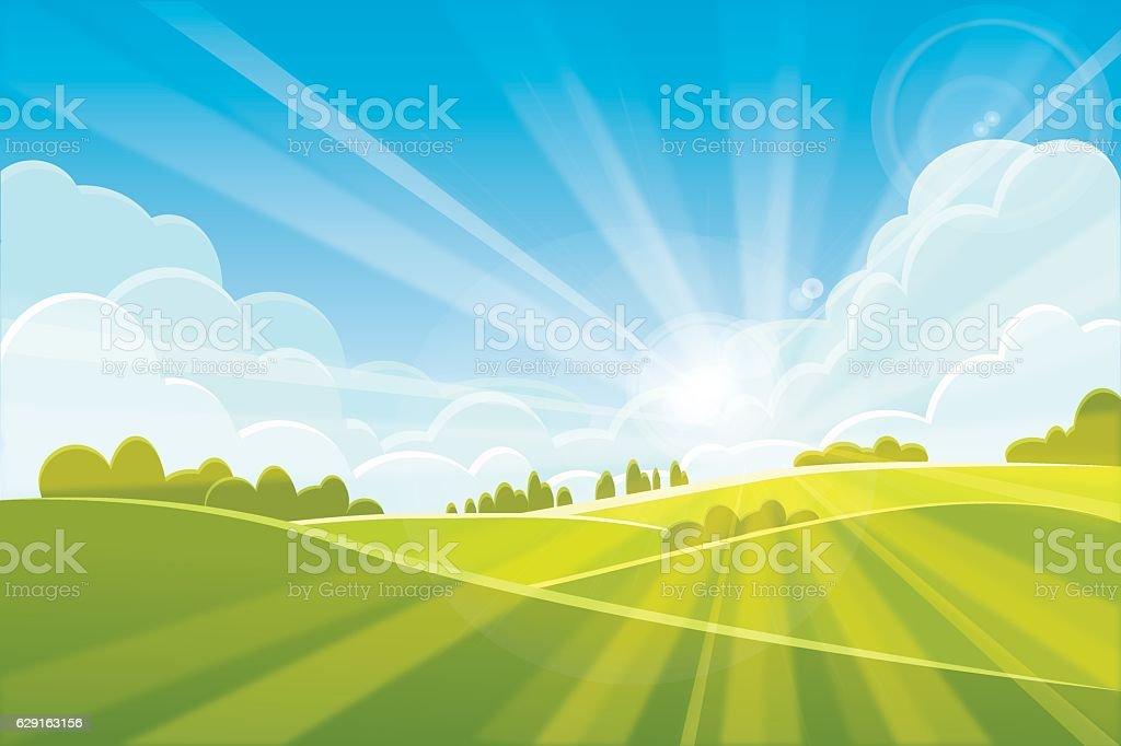 Sunrise summer or spring landscape - vector illustration vector art illustration