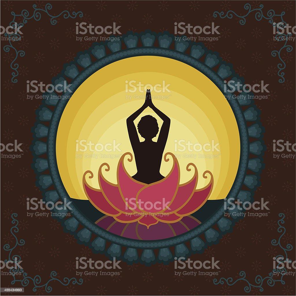 Sunrise Yoga royalty-free stock vector art