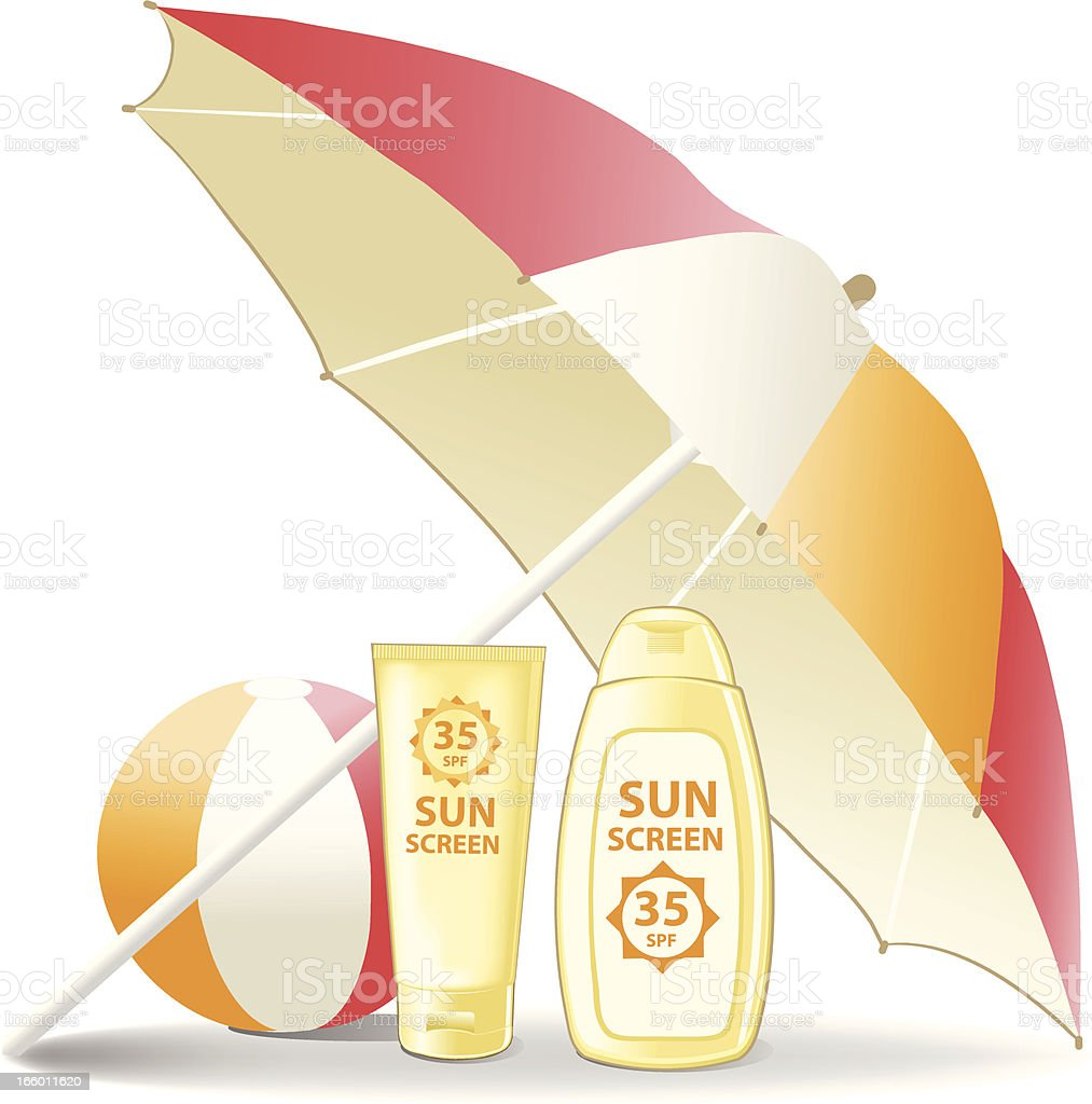 Sunscreen and beach ball below a sunshade royalty-free stock vector art
