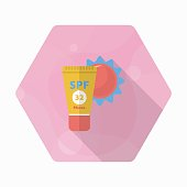 Sunscreen icon, Vector flat long shadow design. Transport concep