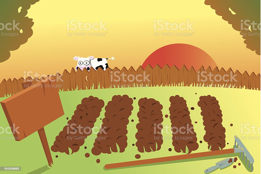 Sunset and Cow on vegetable garden royalty-free stock vector art