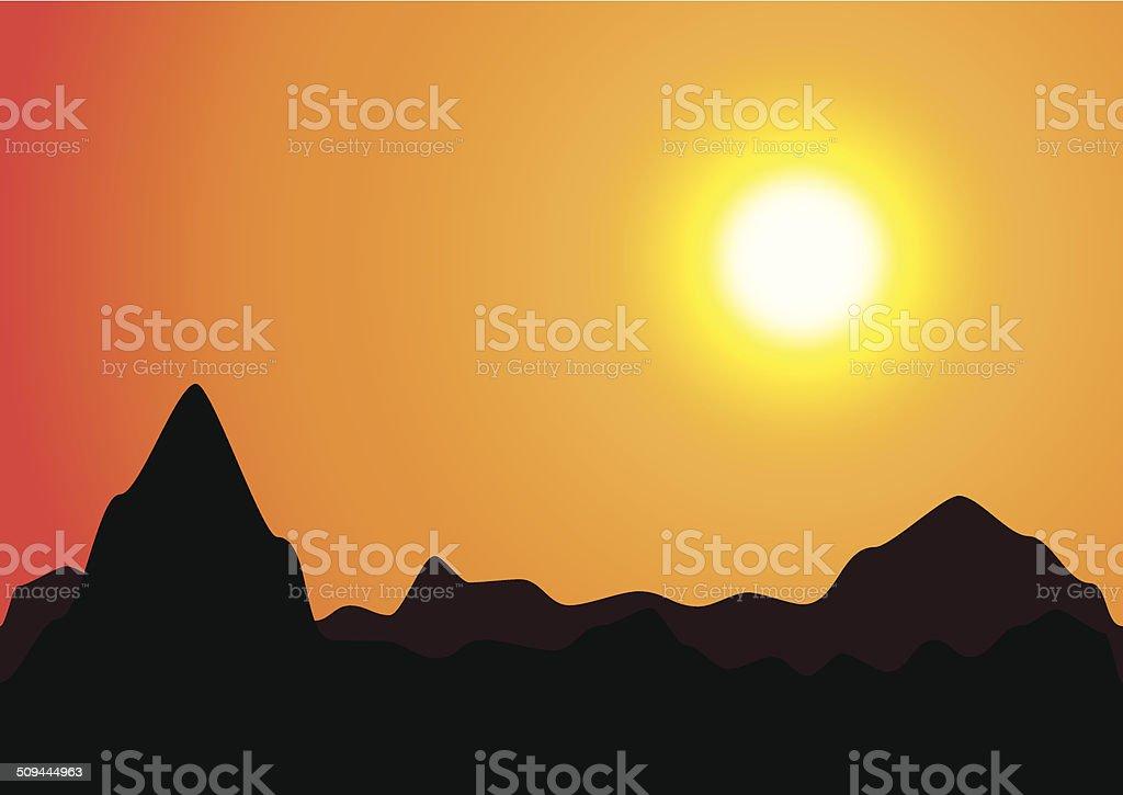 Coucher du soleil et des montagnes de silhouette stock vecteur libres de droits libre de droits