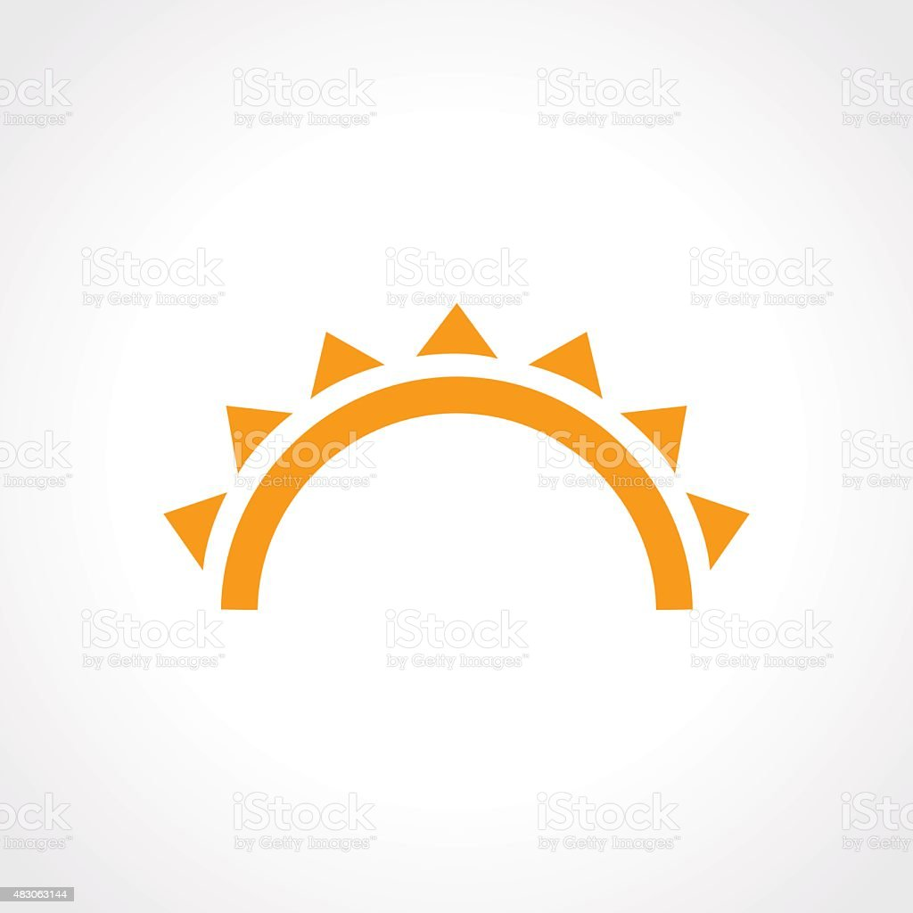 sunset and sea waves icon vector art illustration