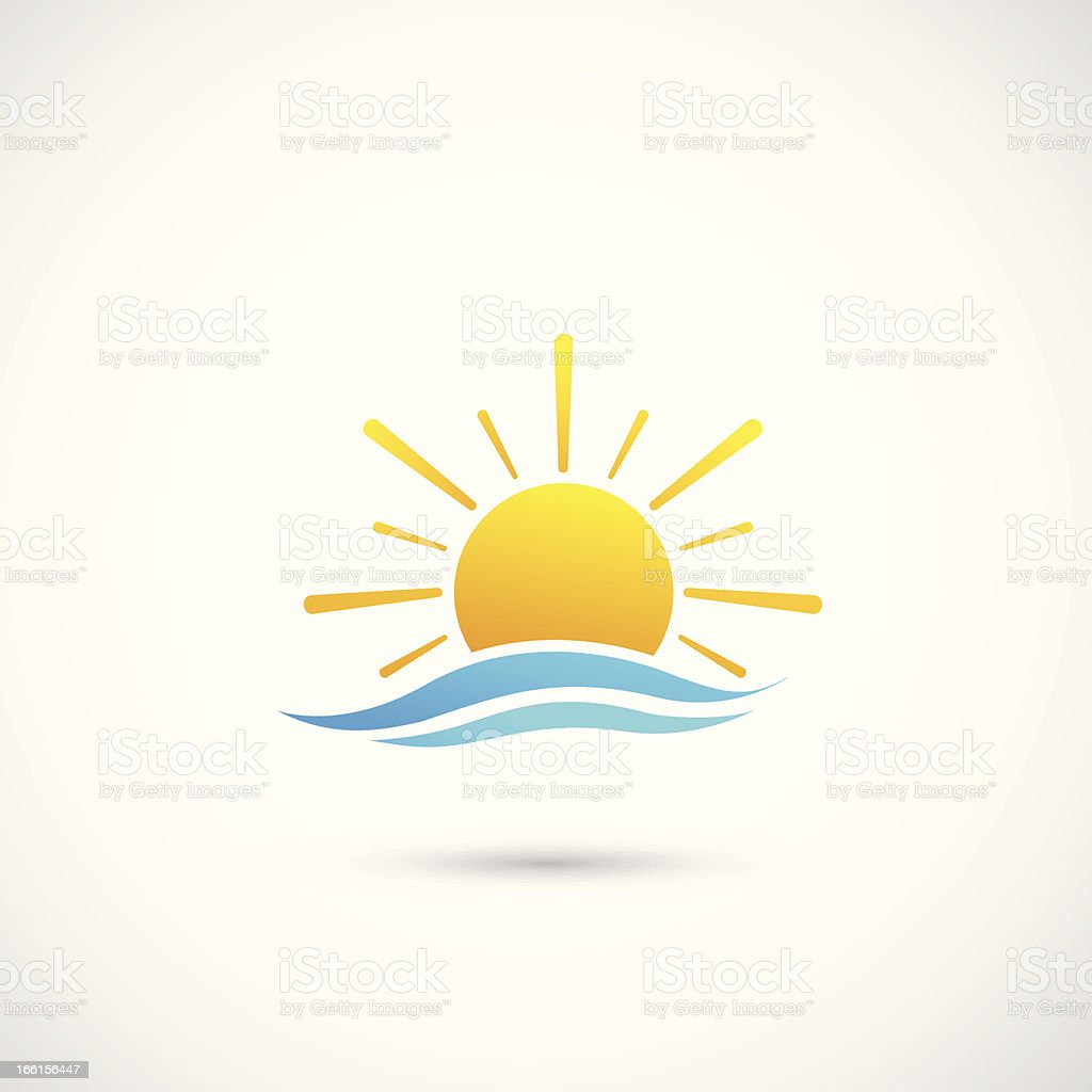 sunset and sea waves vector art illustration