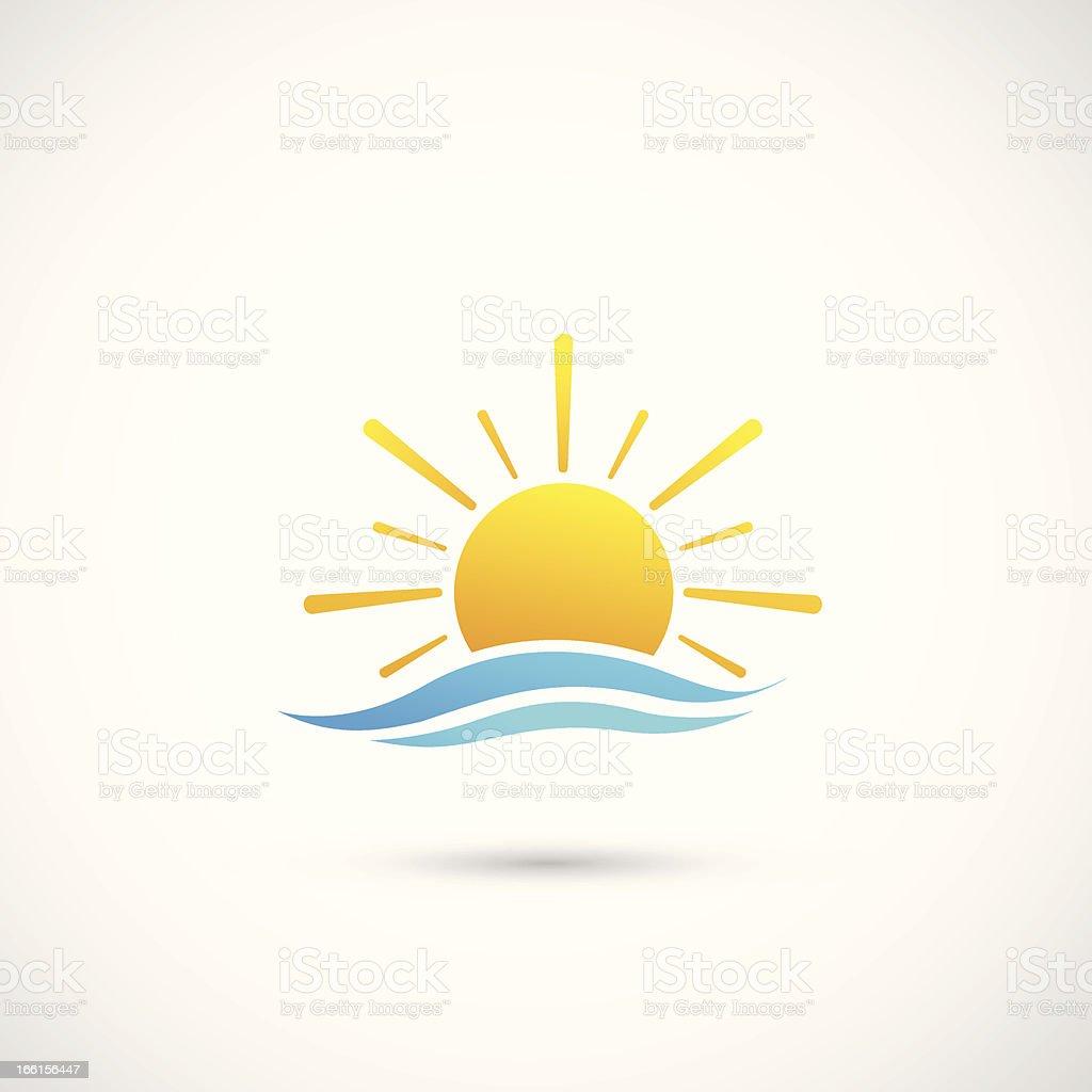 sunset and sea waves vector art illustration