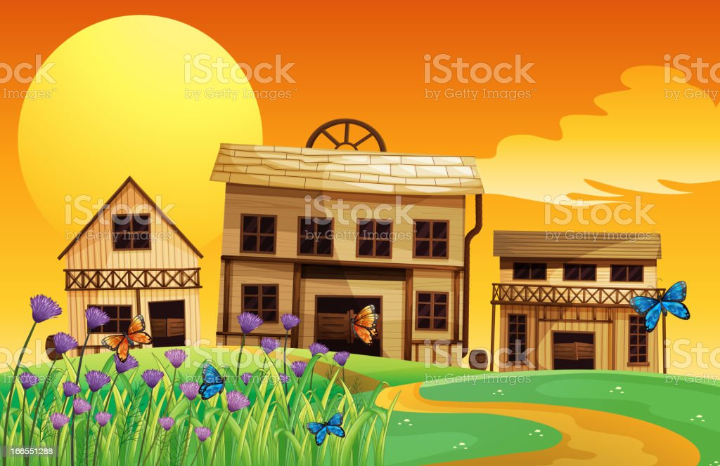 Sunset and the three houses royalty-free stock vector art