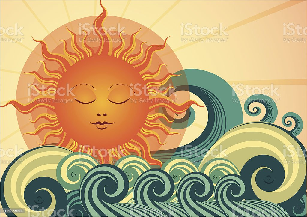 sunset and wave royalty-free stock vector art
