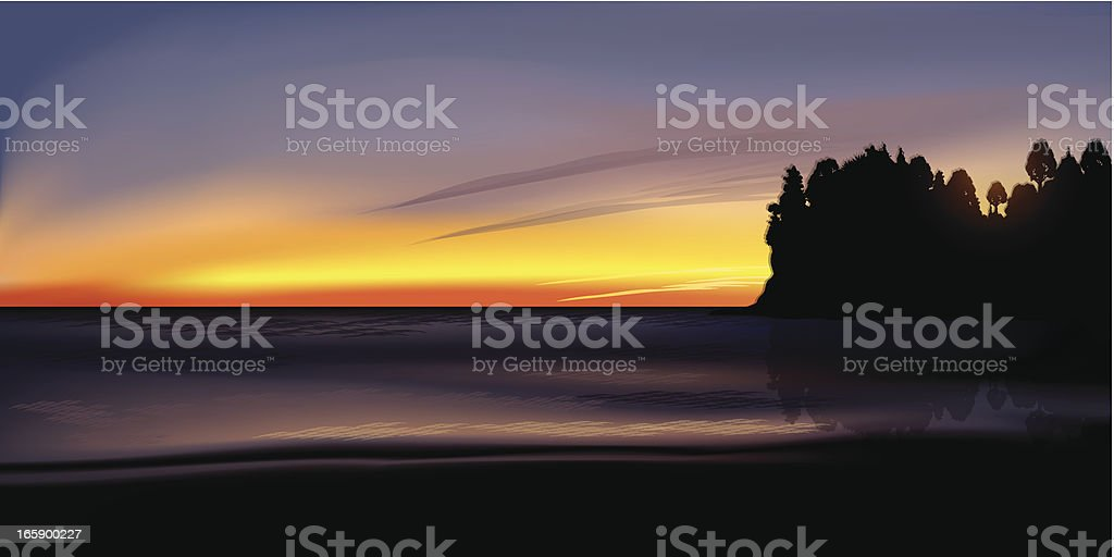Sunset at the ocean royalty-free stock vector art