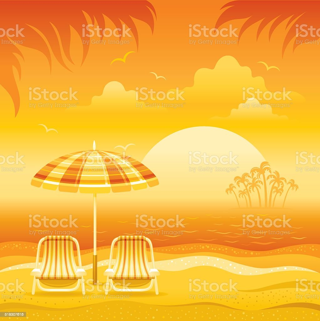 Sunset beach background vector art illustration