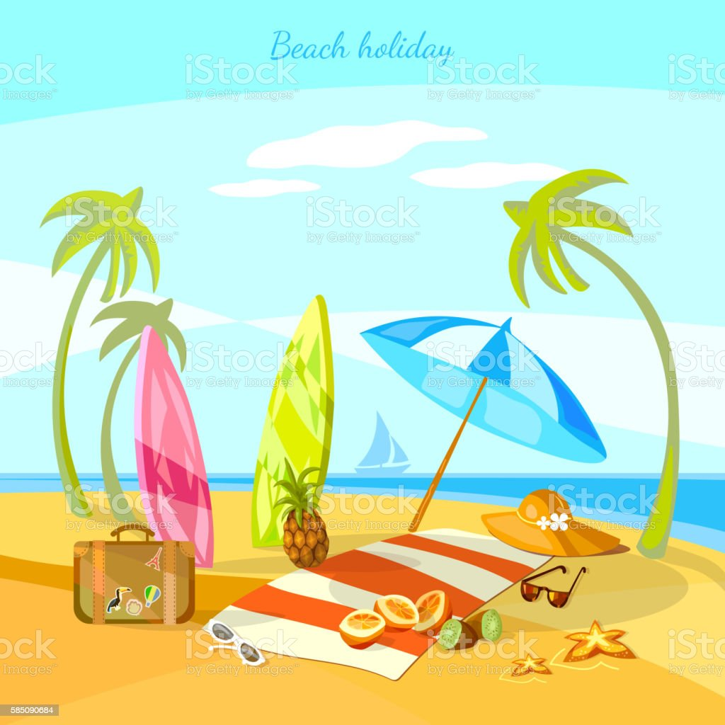 Sunset beach summer holiday vector art illustration