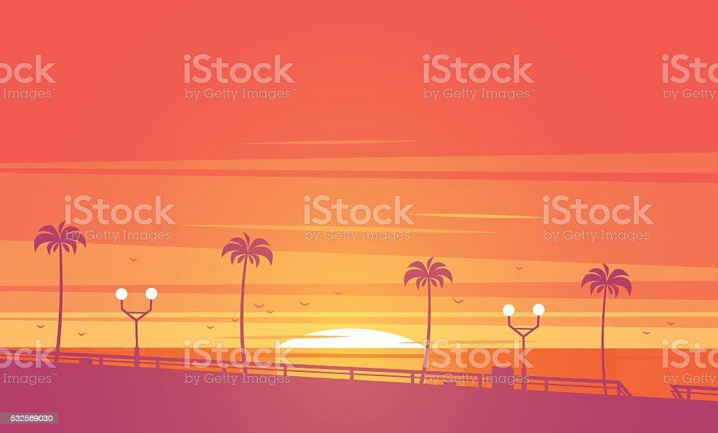 Sunset beach. Vector illustration. vector art illustration
