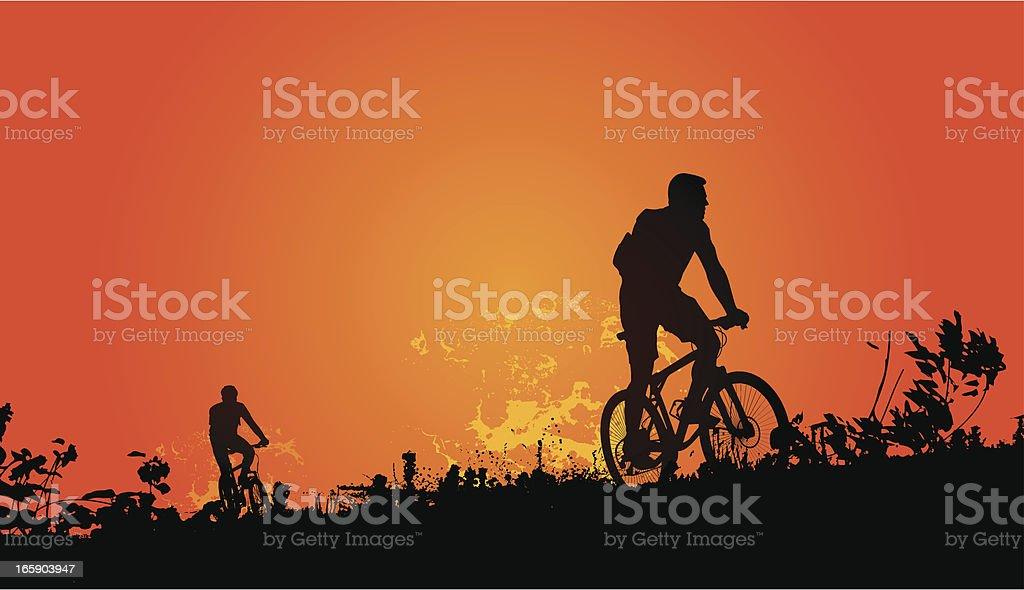 Sunset Bikers vector art illustration