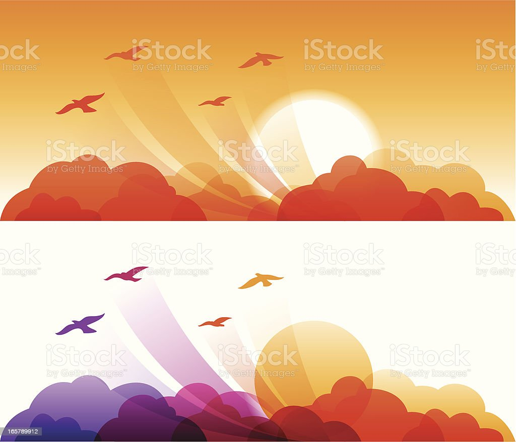 Sunset Birds royalty-free stock vector art