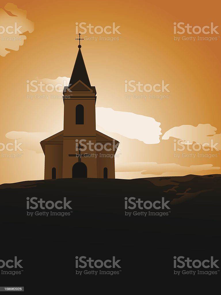sunset chapel royalty-free stock vector art