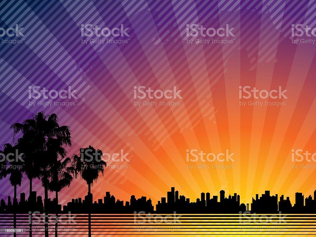 Sunset City Background vector art illustration