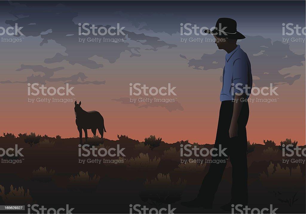 Sunset Cowboy royalty-free stock vector art