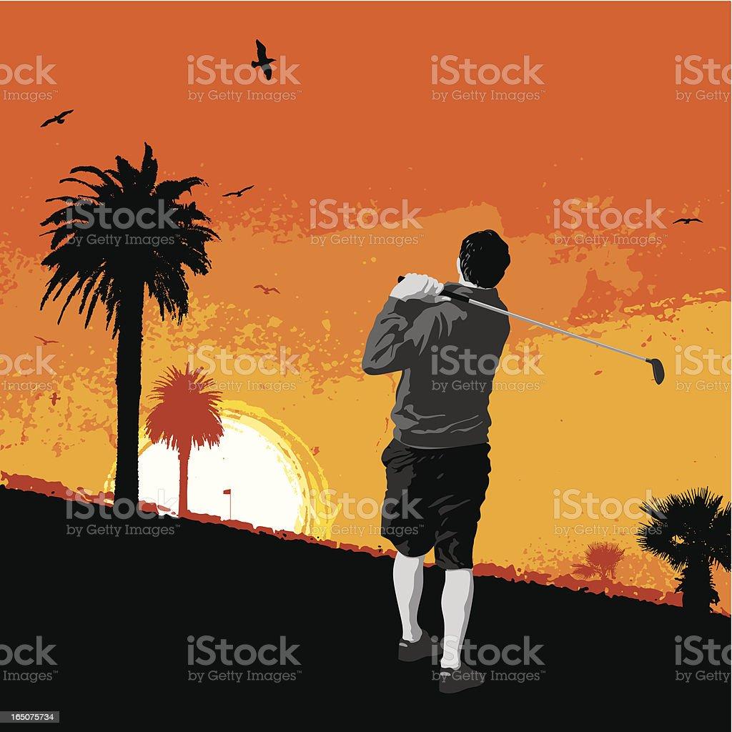 sunset golf vector art illustration