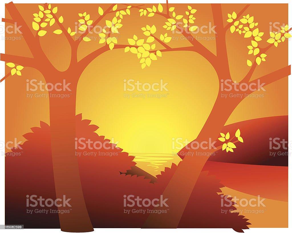 Sunset heart royalty-free stock vector art