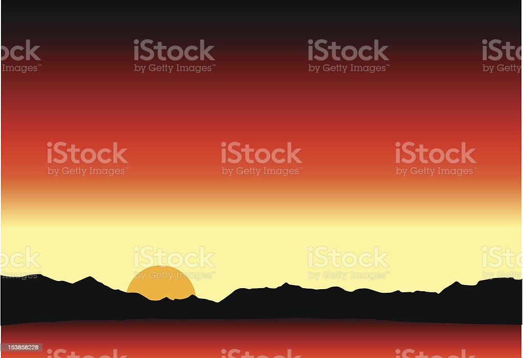 Sunset in moutain range royalty-free stock vector art