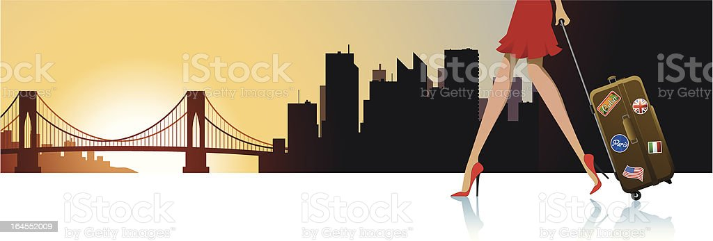 Sunset in N.Y. vector art illustration