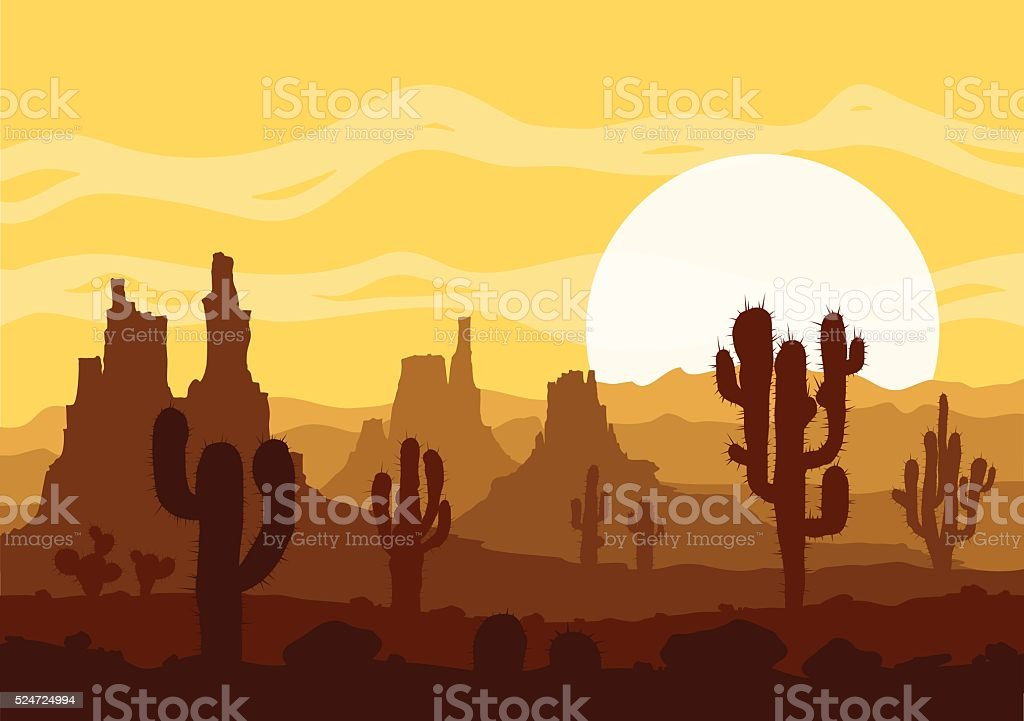 Sunset in stone desert  with cactuses and mountains. vector art illustration